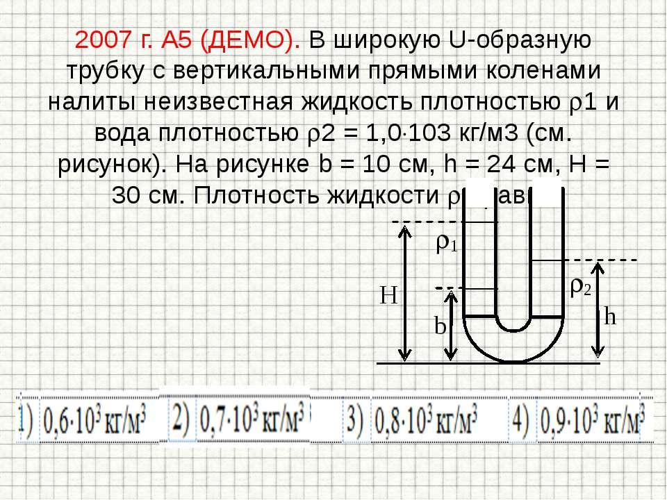 2007 г. А5 (ДЕМО). В широкую U-образную трубку с вертикальными прямыми колена...