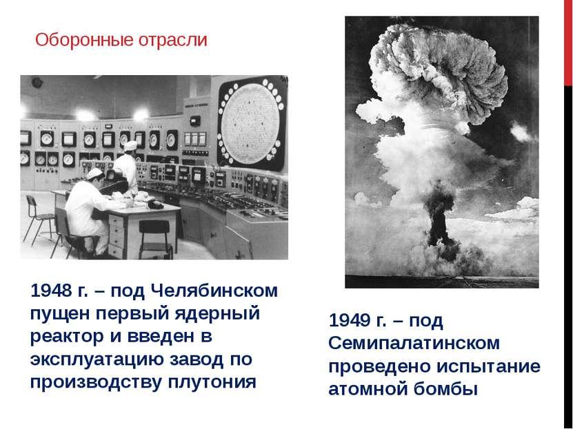 Оборонные отрасли 1948 г. – под Челябинском пущен первый ядерный реактор и вв...