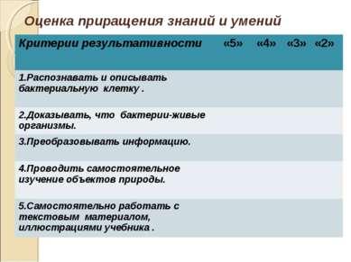 Оценка приращения знаний и умений Критерии результативности «5» «4» «3» «2» 1...