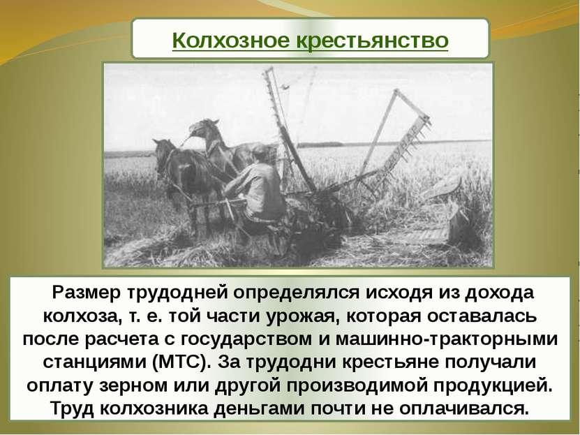 Размер трудодней определялся исходя из дохода колхоза, т. е. той части урожая...