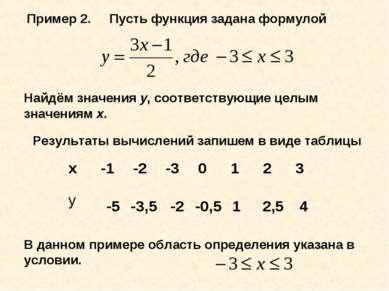 Пример 2. Пусть функция задана формулой Найдём значения у, соответствующие це...
