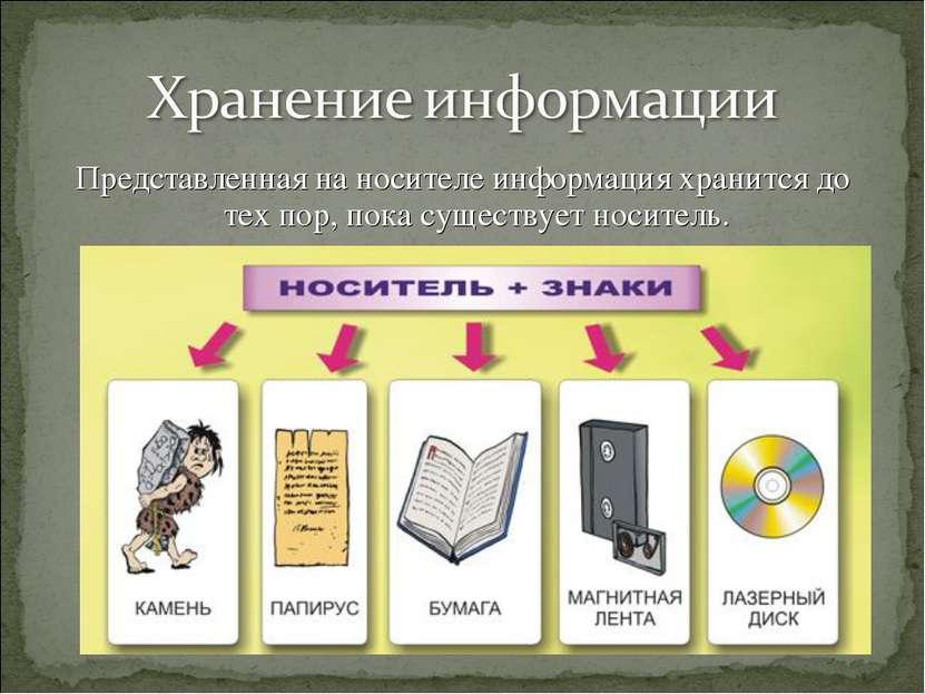 Представленная на носителе информация хранится до тех пор, пока существует но...