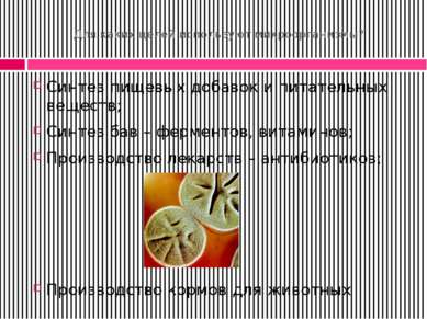 Для каких целей используют микроорганизмы? Синтез пищевых добавок и питательн...