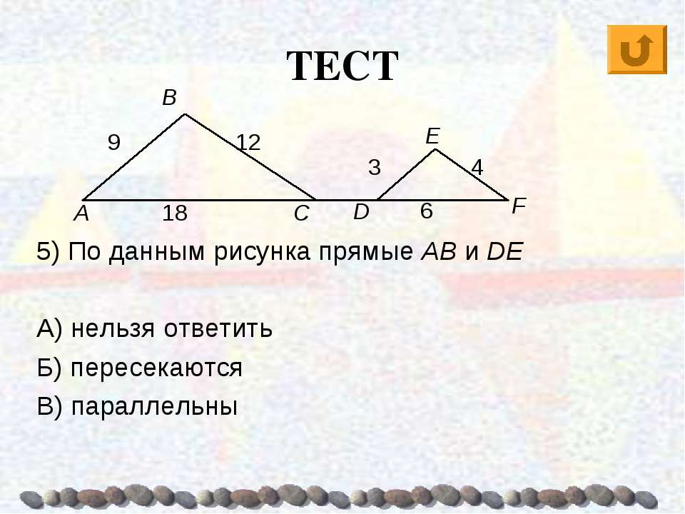 ТЕСТ 5) По данным рисунка прямые AB и DE А) нельзя ответить Б) пересекаются В...