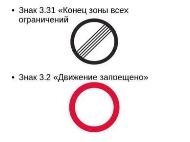 Знак 3.31 «Конец зоны всех ограничений» Знак 3.2 «Движение запрещено»