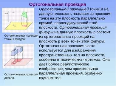 Ортогональной проекцией точки А на данную плоскость называется проекция точки...