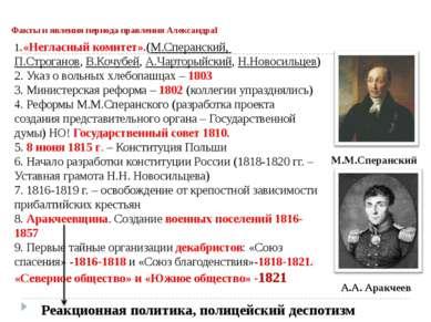Факты и явления периода правления АлександраI 1.«Негласный комитет».(М.Сперан...