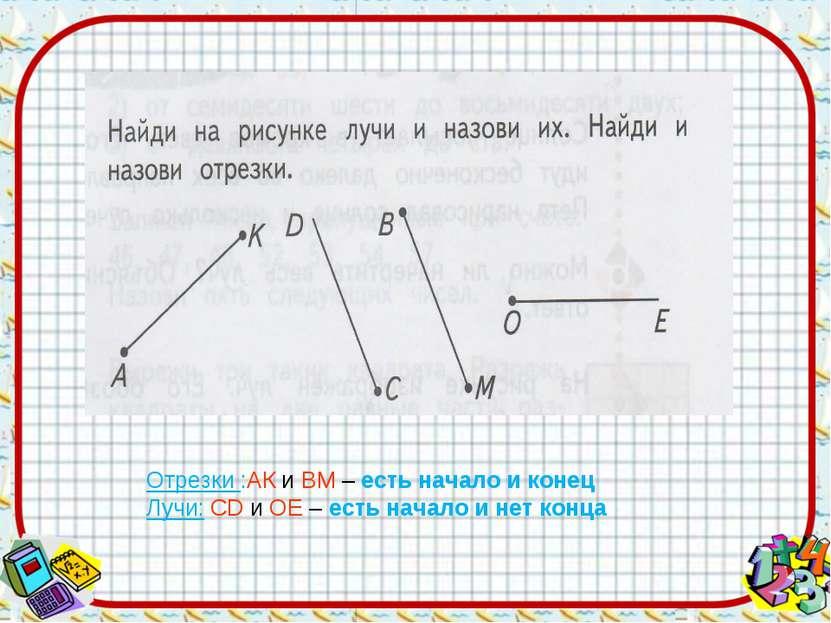 Отрезки :АК и ВМ – есть начало и конец Лучи: СD и ОЕ – есть начало и нет конца