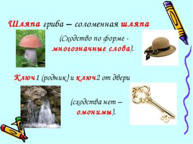 Шляпа гриба – соломенная шляпа Ключ1 (родник) и ключ2 от двери (Сходство по ф...