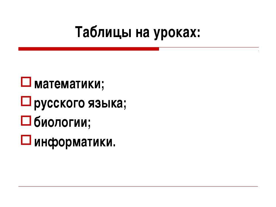 Таблицы на уроках: математики; русского языка; биологии; информатики.