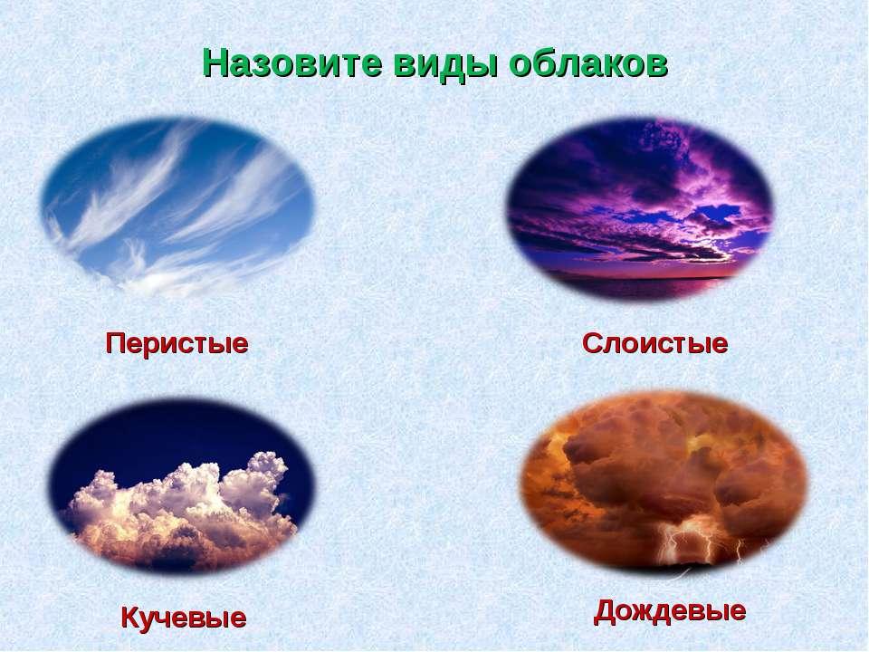 Назовите виды облаков Перистые Слоистые Кучевые Дождевые