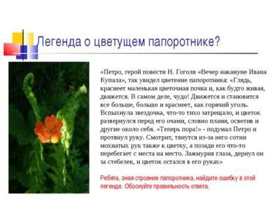 Легенда о цветущем папоротнике? «Петро, герой повести Н. Гоголя «Вечер накану...