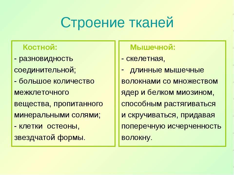 Строение тканей Костной: - разновидность соединительной; - большое количество...