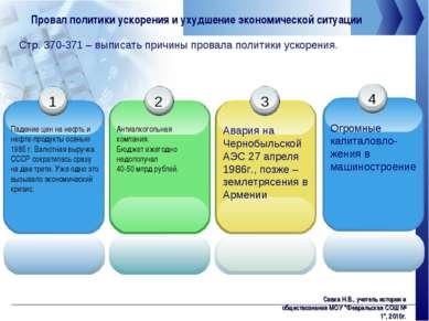 Провал политики ускорения и ухудшение экономической ситуации Стр. 370-371 – в...