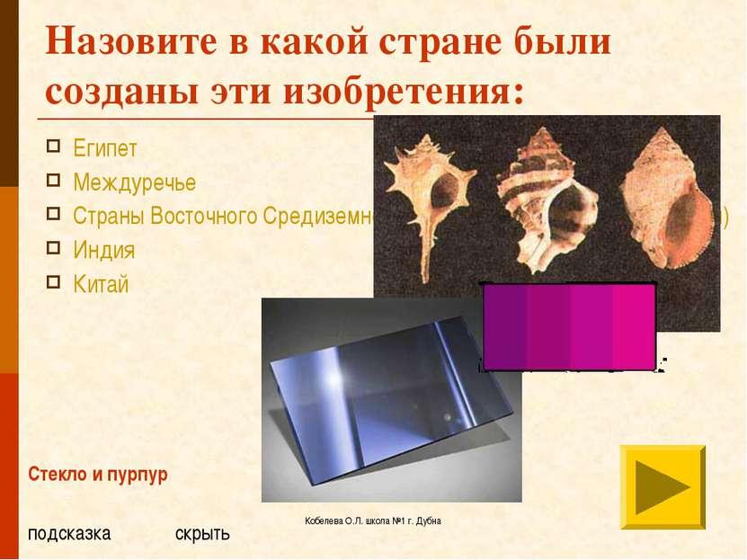 Кобелева О.Л. школа №1 г. Дубна Назовите в какой стране были созданы эти изоб...
