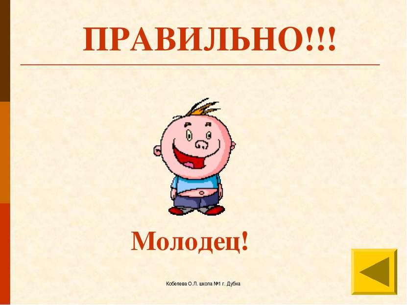 Кобелева О.Л. школа №1 г. Дубна ПРАВИЛЬНО!!! Молодец! Кобелева О.Л. школа №1 ...