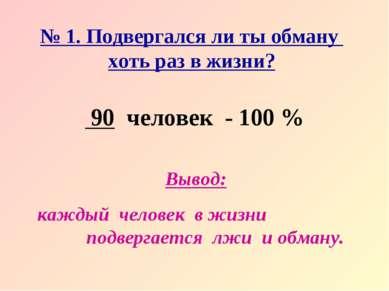 № 1. Подвергался ли ты обману хоть раз в жизни? 90 человек - 100 % Вывод: каж...
