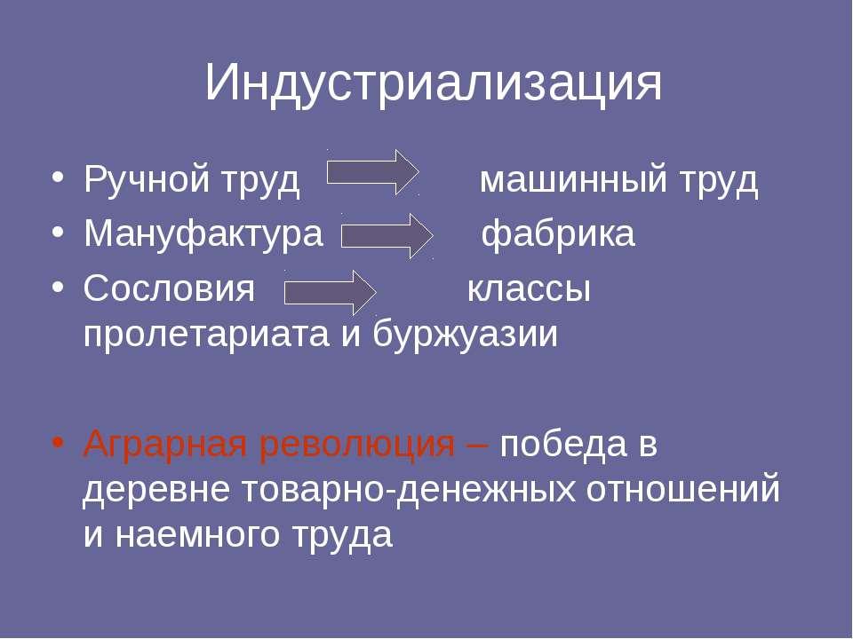 Индустриализация Ручной труд машинный труд Мануфактура фабрика Сословия класс...