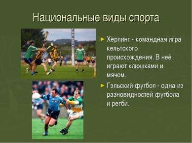 Национальные виды спорта Хёрлинг - командная игра кельтского происхождения. В...