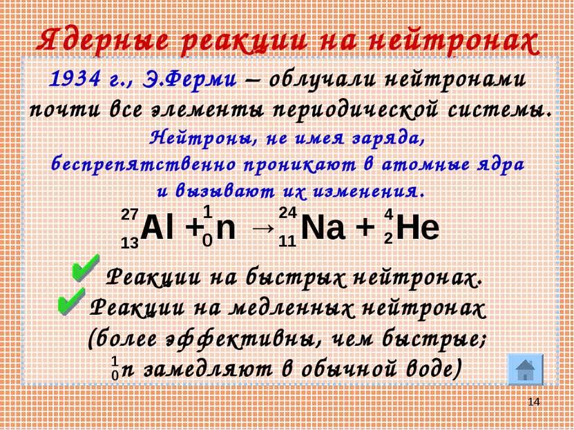 * Ядерные реакции на нейтронах 1934 г., Э.Ферми – облучали нейтронами почти в...