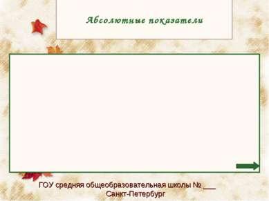 Aбсолютные показатели ГОУ средняя общеобразовательная школы № ___ Санкт-Петер...