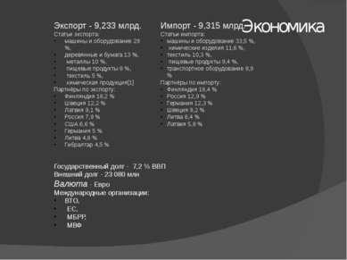 Экономика Экспорт - 9,233 млрд. Статьи экспорта: машины и оборудование 29 %, ...