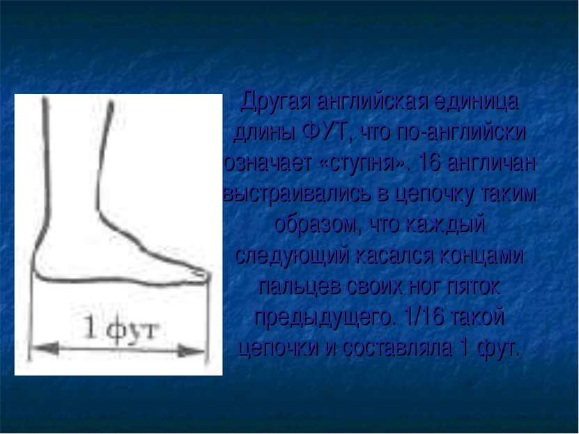 Другая английская единица длины ФУТ, что по-английски означает «ступня». 16 а...