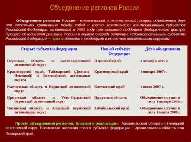 Объединение регионов России Объединение регионов России - политический и экон...
