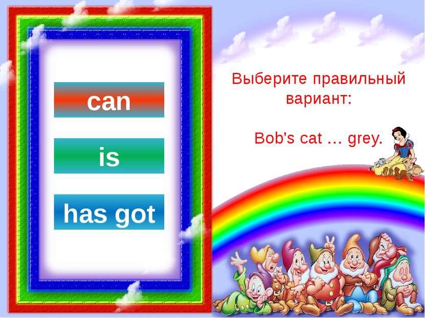 Выберите правильный вариант: Bob's cat … sing. has got is can