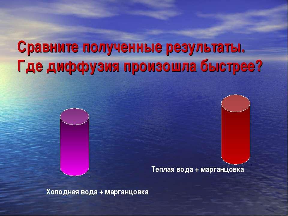 Сравните полученные результаты. Где диффузия произошла быстрее? Холодная вода...