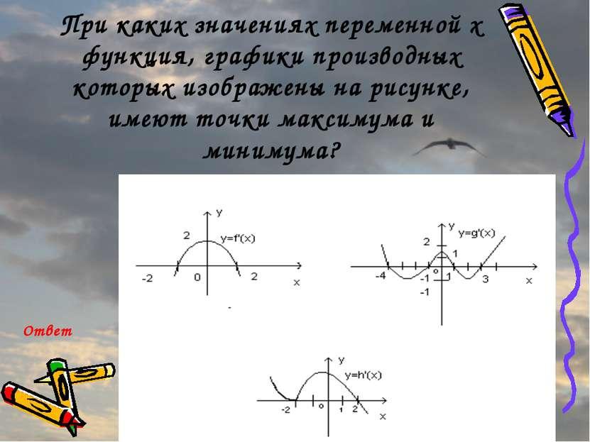 При каких значениях переменной x функция, графики производных которых изображ...