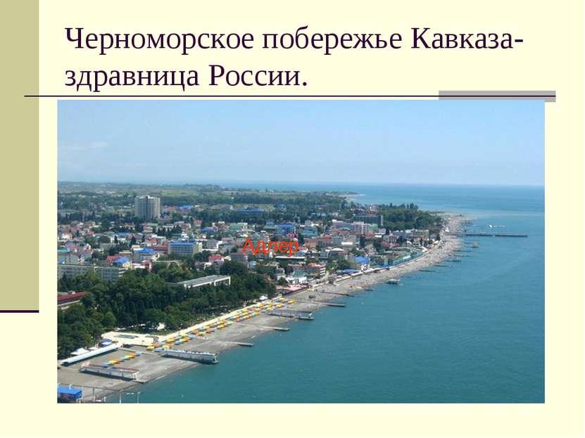 Черноморское побережье Кавказа- здравница России. Адлер