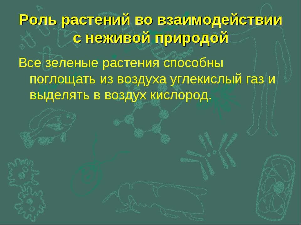 Роль растений во взаимодействии с неживой природой Все зеленые растения спосо...