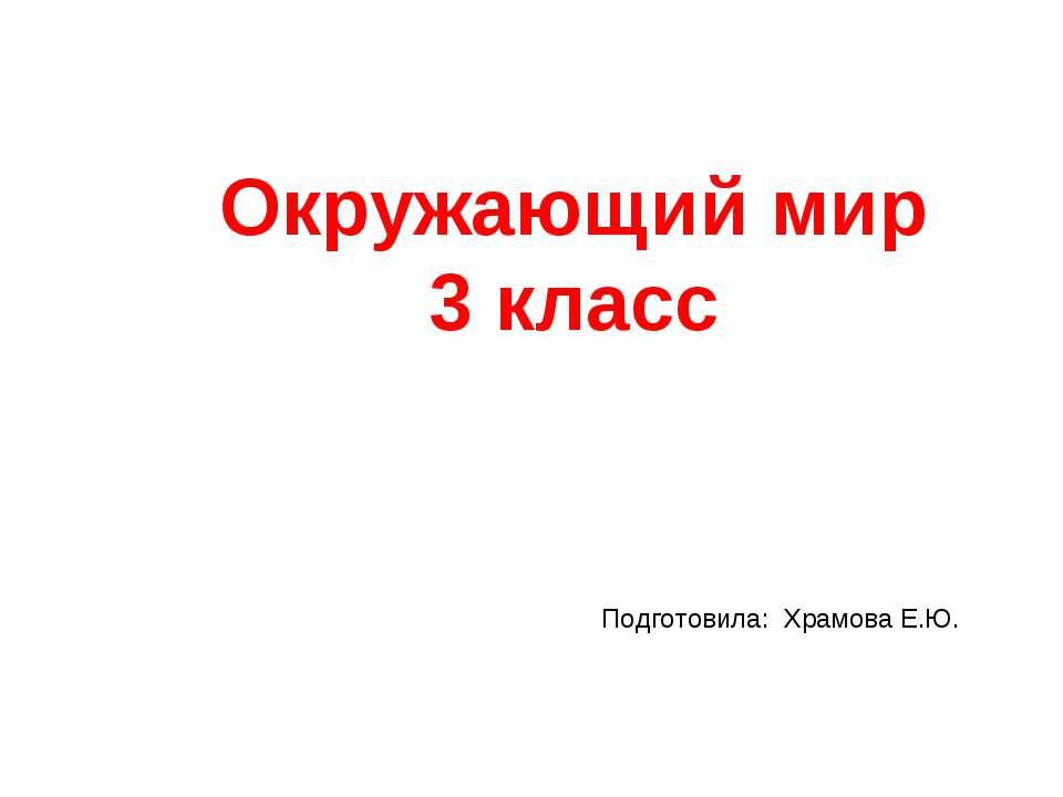 Окружающий мир 3 класс Подготовила: Храмова Е.Ю.
