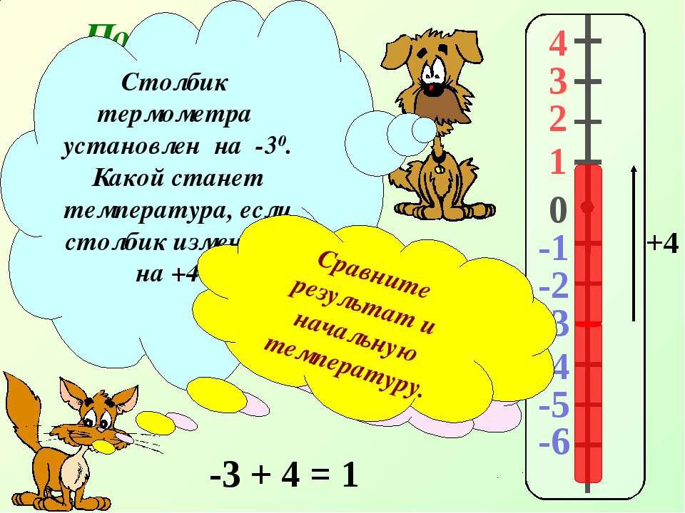 Повторение. 4 3 2 1 -1 0 -2 -3 -4 -5 -6 Столбик термометра установлен на -30....