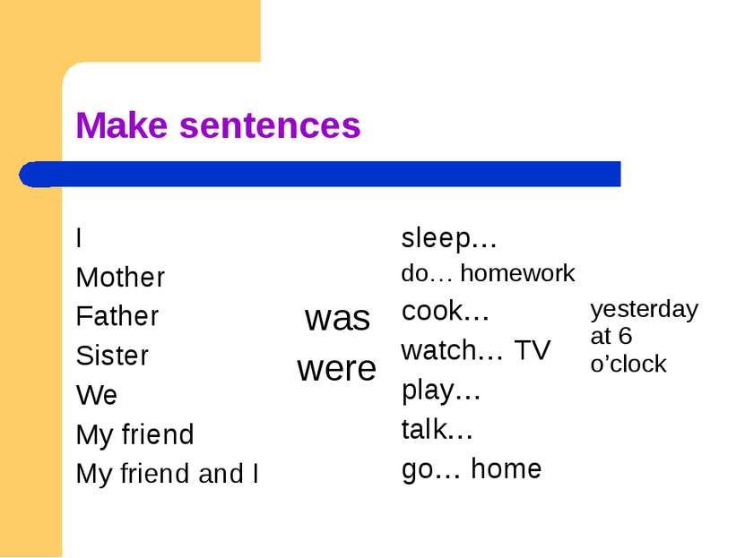 Make sentences I Mother Father Sister We My friend My friend and I was were s...