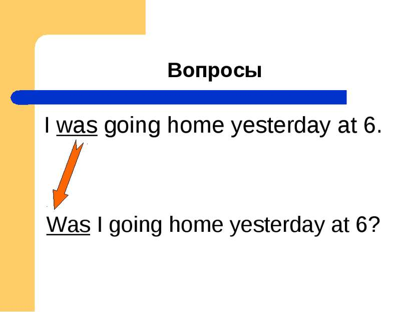 Вопросы I was going home yesterday at 6. Was I going home yesterday at 6?