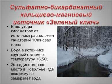 """В полутора километрах от источника расположен санаторий """"Кленовая гора» Вода ..."""