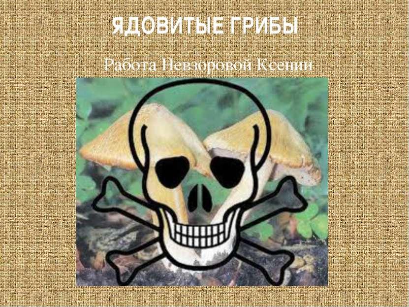 ЯДОВИТЫЕ ГРИБЫ Работа Невзоровой Ксении