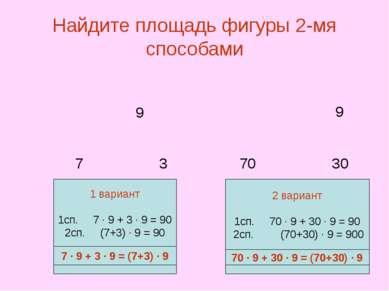 Найдите площадь фигуры 2-мя способами 7 3 70 30 7 ∙ 9 + 3 ∙ 9 = (7+3) ∙ 9 70 ...