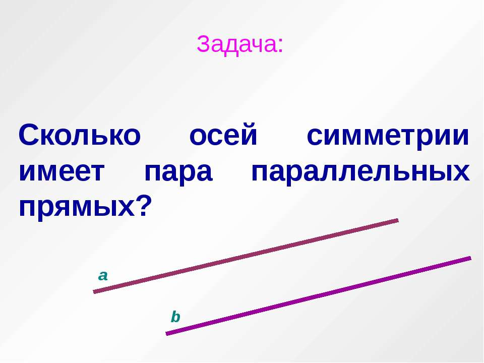Задача: Сколько осей симметрии имеет пара параллельных прямых? a b