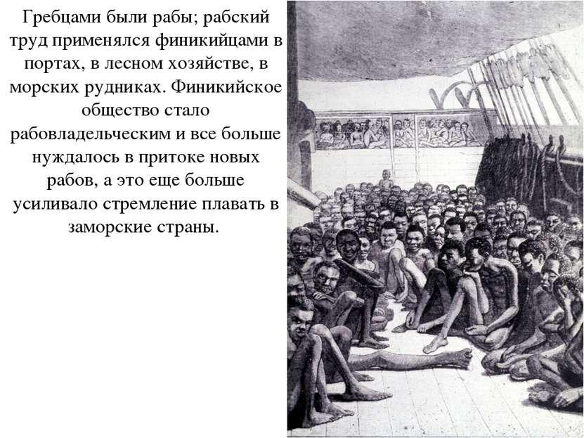 Гребцами были рабы; рабский труд применялся финикийцами в портах, в лесном хо...