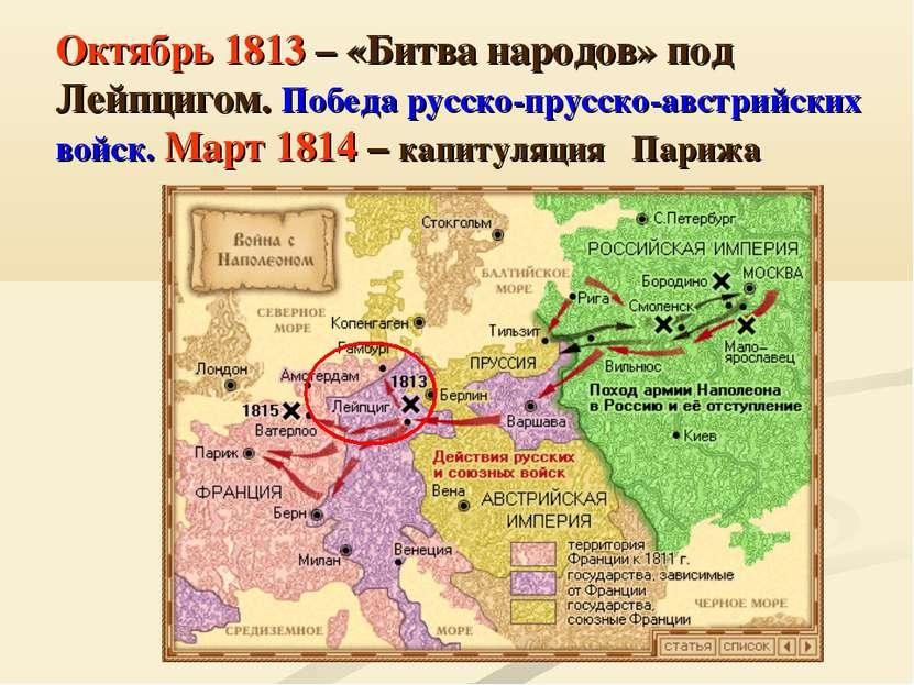 Октябрь 1813 – «Битва народов» под Лейпцигом. Победа русско-прусско-австрийск...