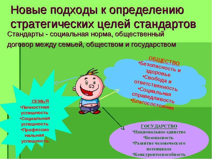 Новые подходы к определению стратегических целей стандартов Стандарты - социа...