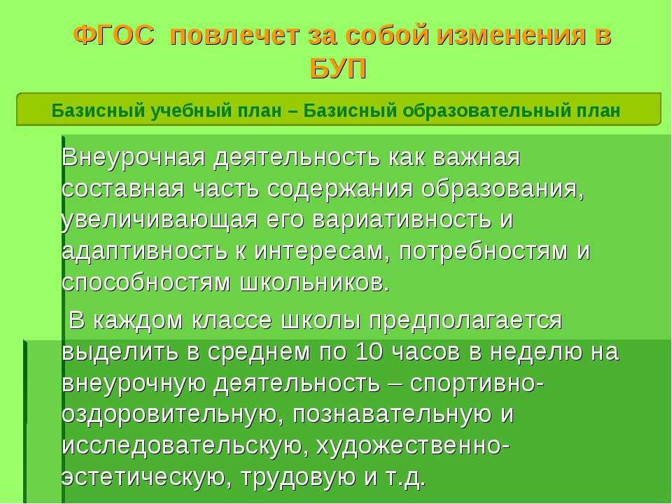 ФГОС повлечет за собой изменения в БУП Внеурочная деятельность как важная сос...