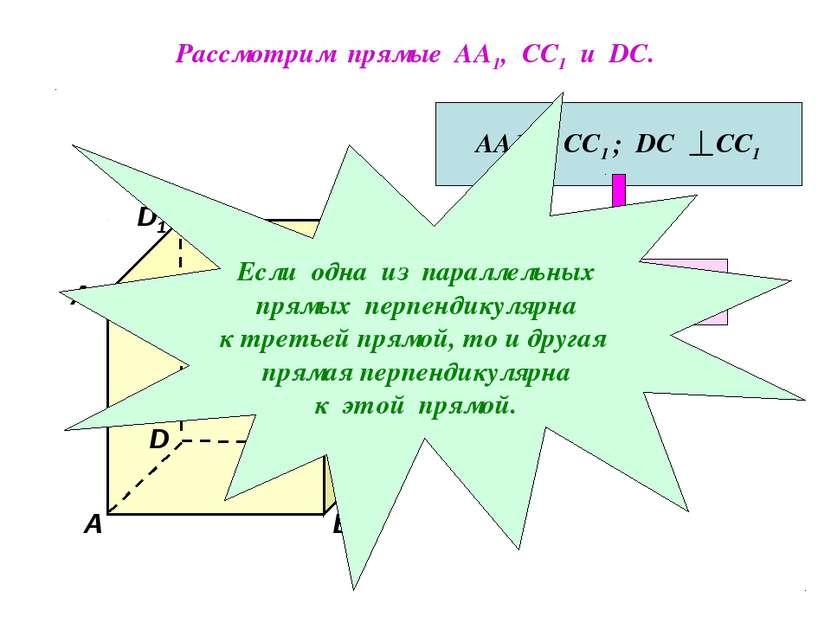 Рассмотрим прямые АА1, СС1 и DC. D1 В А1 А D С1 С В1 АА1 СС1 ; DC СС1 АА1 DC ...