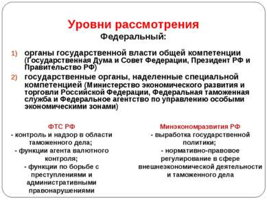 Уровни рассмотрения Федеральный: органы государственной власти общей компетен...