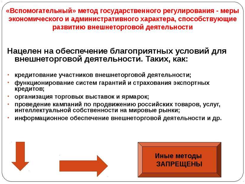 «Вспомогательный» метод государственного регулирования - меры экономического ...