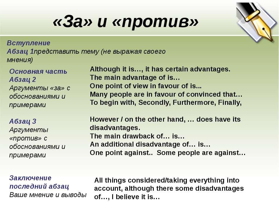«За» и «против» Вступление Абзац 1представить тему (не выражая своего мнения)...
