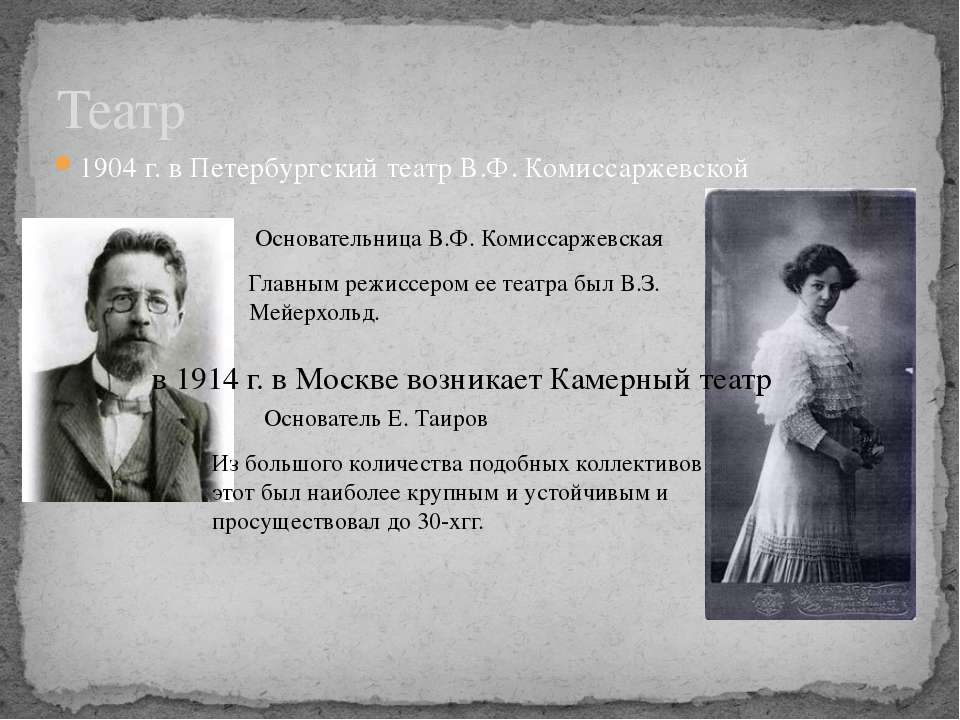 1904 г. в Петербургский театр В.Ф. Комиссаржевской Театр Главным режиссером е...